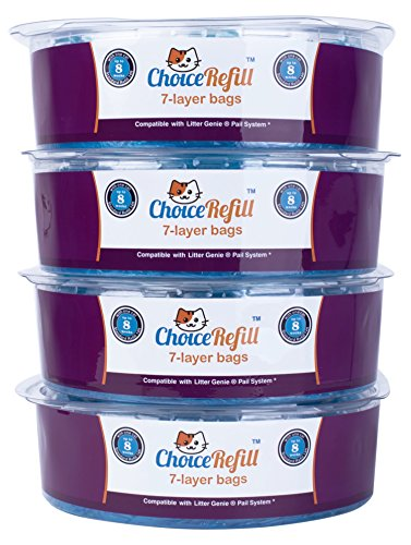 ChoiceRefill [Improved Design] Compatible with Litter Genie Pail - 4 Pack