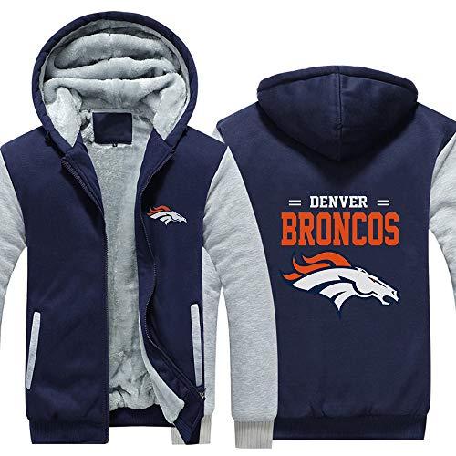 LCY Männer NFL Hoodies - Denver Broncos Football Fans Langarm Eindickung beiläufige Reißverschluss Jersey Sweater,C,L