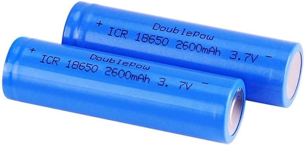 LED Linterna Antorcha 2 Pcs Bater/ía 18650 Recargable Litio Lones Pilas 3.7V 2600mah Capacidad Bater/ías de Litio C/élulas Acumuladoras para Timbre de Puerta