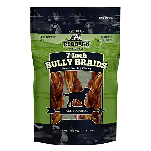 Redbarn 7' Braided Bully Sticks for Dogs. Natural, Grain-Free, Highly Palatable, Long-Lasting Dental Chews Sourced from Free-Range, Grass-Fed Cattle, 3-Count (Pack of 2)