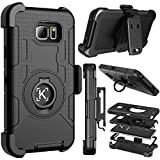 Kaptron Note 5 case, Galaxy Note 5 Hybrid Dual Layer Combo Armor Defender Protective case with Kickstand and Belt Clip for Samsung Galaxy Note 5 (Black)