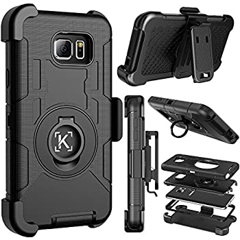 Kaptron Note 5 case Galaxy Note 5 Hybrid Dual Layer Combo Armor Defender Protective case with Kickstand and Belt Clip for Samsung Galaxy Note 5  Black