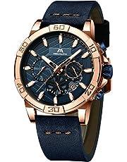 [メガリス]MEGALITH メンズ腕時計 クロノグラフ防水ウオッチレザー 男性時計本革 アナログクオーツ 日付カレンダー カジュアル ビジネス おしゃれ 紳士腕時計