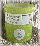 4er Set Tischlicht Tischlichter Kommunion Konfirmation Jugendweihe Taufe Fussball Deko Tischdeko personalisierbar grün kiwi apfelgrün