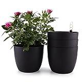 T4U d'arrosage Automatique Pots de Fleurs, 18.5 * 16CM Plantes en Plastique avec...