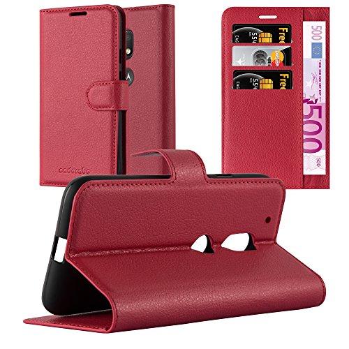Cadorabo Hülle für Motorola Moto G4 Play - Hülle in Karmin ROT – Handyhülle mit Kartenfach & Standfunktion - Hülle Cover Schutzhülle Etui Tasche Book Klapp Style