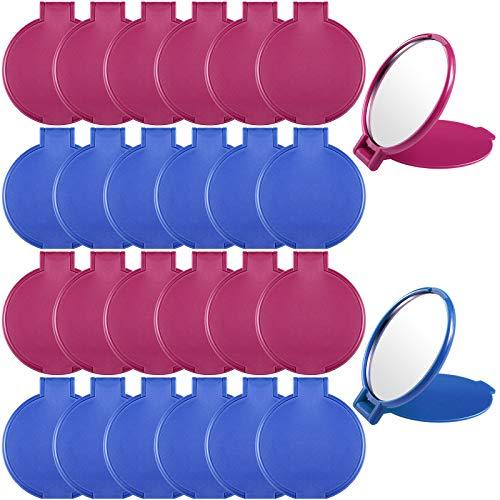 24 Piezas Mini Espejos Plegables Espejo Redondo Portátil Compacto Espejo de Maquillarse para Uso Diario de Viaje de Mujeres Niñas, 2 Colores (Rojo Violáceo y Azul)