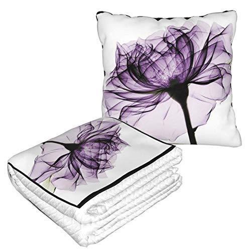XCNGG Blue X Ray Flower Tattoo Travel Pillow Blanket Bien viajado 2 en 1 Manta de Tiro Ideal para Aeroplano Coche Tren Viaje Camping Ultra Suave y Acogedor