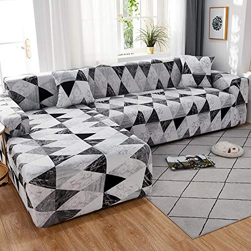 Fsogasilttlv Stretch Couch Slipcover 2 Seater and 3 Seater,Elastic Solid Sofa Cover Stretch All-Inclusive for Living Room, Sofa Couch Cover Arm Chair Cover 145-185cm and 190-230cm(2pcs)