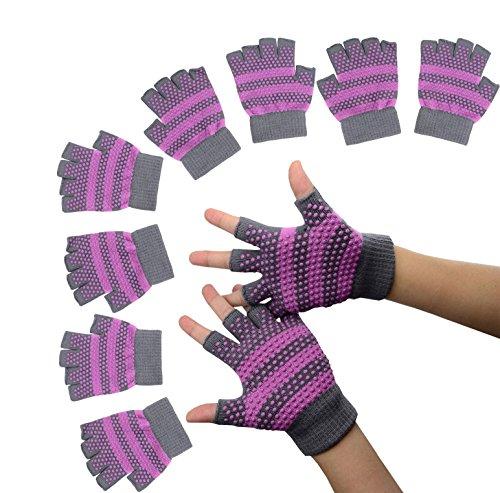 Sin dedos guantes de ejercicio antideslizante Yoga Pilates calcetines con puntos de silicona, grey and rose