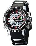 Shark Army Dual display allarme uomo cronografo sport orologio da polso quadrante rosso SH043
