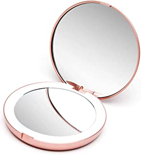 Cosmetic Folding Portable Makeup Compact Pocket Mirror Led Lights Lamps Candy Color USB Charging Natural Lights, 1X/ 10X Magnifying Daylight Small for Handbags and Travel