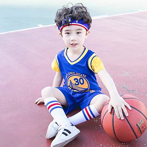 SYXBB-Lampe Niños Camisetas de la NBA Set - Guerreros Curry # 30 Camisa del Baloncesto del Chaleco de la Tapa del Verano Pantalones Cortos para niños y niñas,Azul,170
