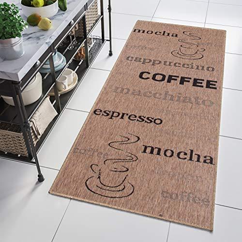 TAPISO Kitchen Tappeto Passatoia al Metro Sisal Cucina Sala da Pranzo Moderno caffè Nero Indoor 100 x 360 cm