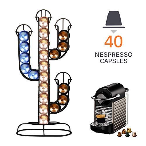 Porta capsule Nespresso, SUNJULY supporto per capsule caffè in acciaio inossidabile Cactus in grado di contenere 40 capsule di caffè salvaspazio per cucina, ufficio, capsule, casa, 42x19x10cm, nero