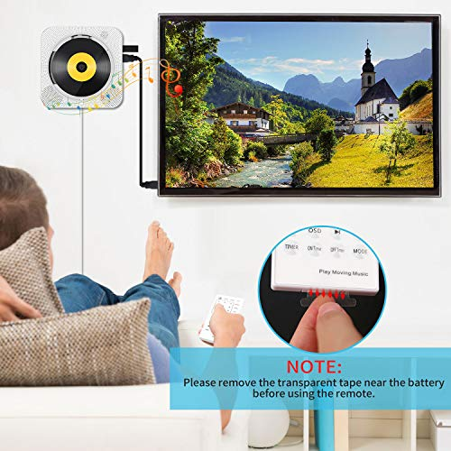 Portable CD/DVD Player with Bluetooth, Wall Mountable CD DVD Player HDMI Built-in HiFi Speakers with Remote for TV, Music Player Support FM Radio USB SD Card AV Jack 3.5mm Headphone Jack