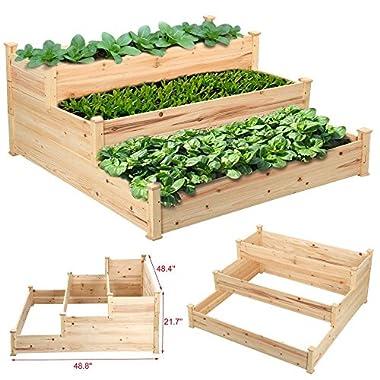 Yaheetech 3 Tier Wooden Elevated Raised Garden Bed Planter Box Kit Natural Cedar Wood