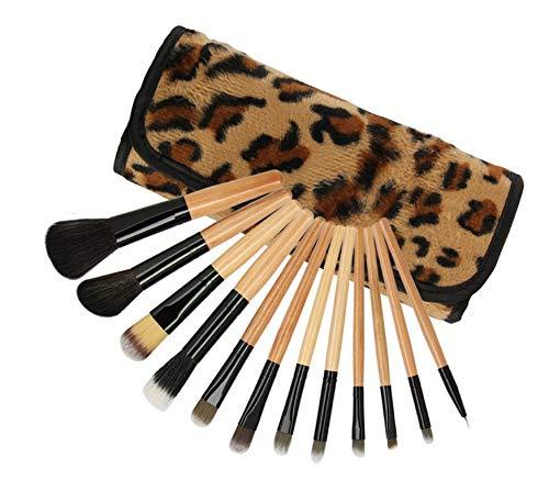 Zhicaikeji Jeu de pinceaux de maquillage, 12 pinceaux de maquillage léopard avec sac à cosmétiques, ensemble complet d'outils de beauté pratiques pour les débutants et les maquilleurs
