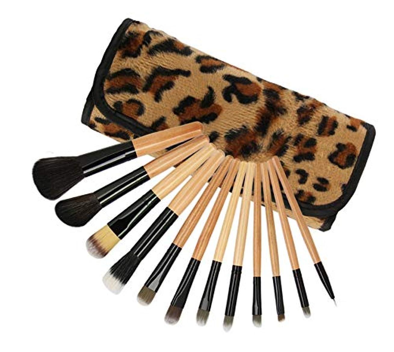 テクトニック数学挨拶化粧筆セット、化粧品袋入りの12ヒョウ化粧筆セット、初心者やメーキャップアーティストのための美容ツールの実用的なフルセット