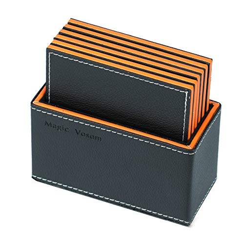 Estrend PU Leather Coasters with Holder Set of 6, Square Black Coaster for Cold & Hot Drinks