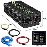 Convertisseur Pur Sinus 1500W-DC 12V à AC 220V/230V Onduleur-2 Prise EU de Courant Alternatif et 1 Port USB-télécommande…