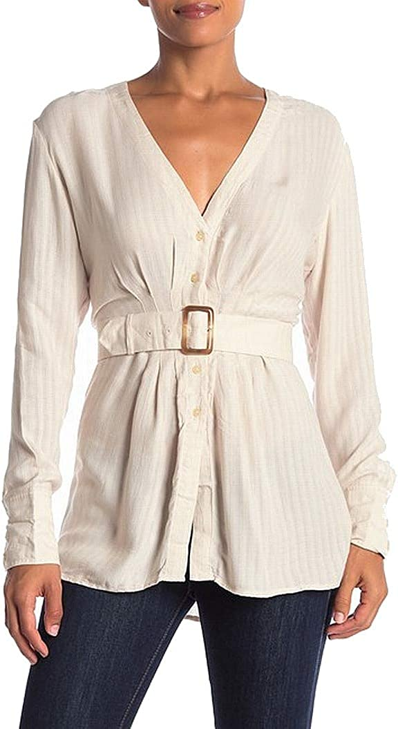 Free People Womens Solid Belted Button Down Blouse