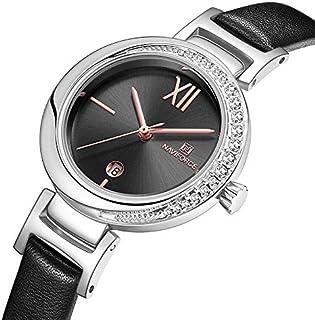 نافي فورس المرأة عارضة ساعة جلد الفرقة هدية زوجة