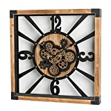 Glitzhome 27.1' D Large Decorative Wall Clock with Numerals, Wooden/Metal Vintage Industrial Oversized Rustic Battery Operated Clocks with Moving Gears for Home Office School