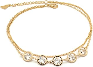 Florence Collection Women's Anklet, 18kt Gold plated, Circular charms, two layered chain, Set with beautiful cubic white s...