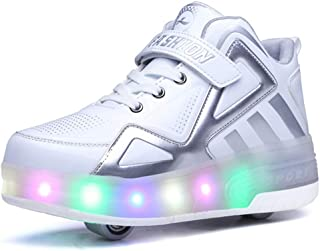 Bruce Wang Unisexe Kids Scooter LED Chaussures Light up Double Roues Skateboard Sneakers en Plein Air Sport Entraînement R...