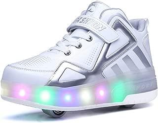 Skates Baskets//Chaussures//Sneakers Multisports 7 Couleur LED Chaussures LED,Unisex Enfants//Single Doubles roulettes High-Top//avec Bouton Poussoir Ajustable roulettes