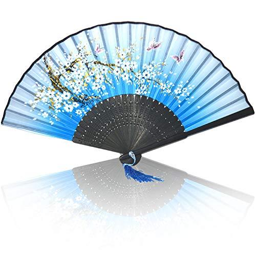 Xfantong Abanicos plegables de bambú de mano de tela de seda plegable con borla de madera china o japonesa, abanicos de mano plegables para mujeres, bodas, fiestas, decoración de pared, azul