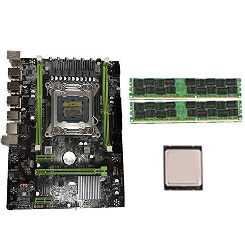 Nrpfell Conjunto de Placa Base X79 con Combos LGA2011 CPU Xeon E5 2620 2Pcs X 4GB = 8GB Memoria DDR3 RAM 1333Mhz PC3 10600R PCI-E