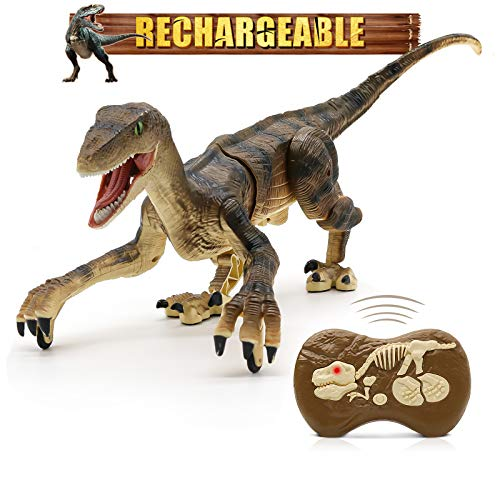 Hot Bee Remote Control Dinosaur Toys, Walking Robot Dinosaur w/ LED Light Up & Roaring 2.4Ghz Simulation Velociraptor RC Dinosaur Toys Gifts for Boys & Kids 5-7
