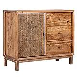 Aparador rústico marrón de Rejilla de Madera y bambú de 85x43x100 cm - LOLAhome