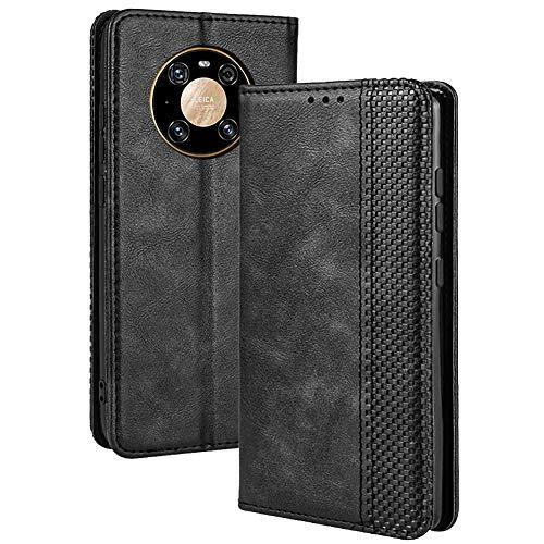 TANYO Leder Folio Hülle für Huawei Mate 40 Pro, Premium Flip Wallet Tasche mit Kartensteckplätzen, PU/TPU Lederhülle Handyhülle Schutzhülle - Schwarz