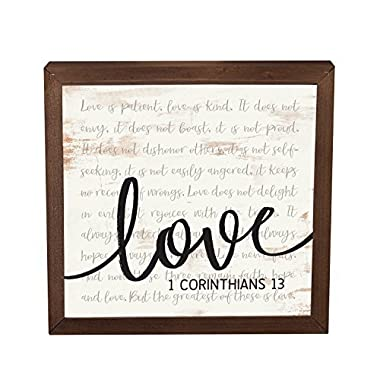 Love is Patient Kind 11 x 11 Inch Solid Pine Wood Farmhouse Frame Wall Plaque