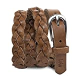 Lois - Cinturon para Mujer de Cuero Piel Genuina Trenzado con Hebilla Metálica de Marca vestir. Flexible y Duradero. Ancho 20 mm. 501007, Color Cuero