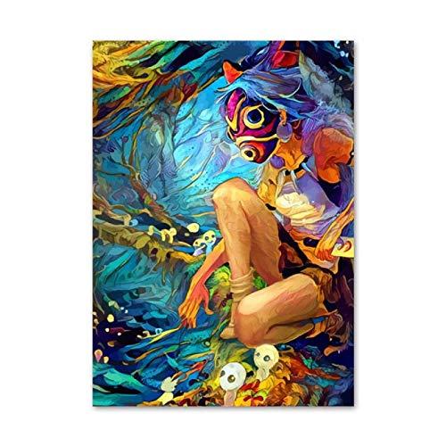 YZHWJSGCArts Póster De Pintura Impresa En Lienzo Decoración del Hogar Princesa Mononoke Anime Cuadro De Arte De Pared Mural Moderno Sin Marco 50X70Cm B935