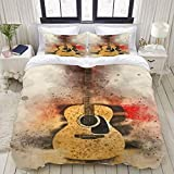 Juego de Funda nórdica, Guitarra acústica de Madera, Juego de Cama Decorativo Colorido de 3 Piezas con 2 Fundas de Almohada