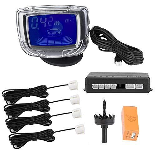 """KIMISS Kit sensore di parcheggio PDC universale per auto da 12 V CC, display LCD da 2""""con radar di retromarcia automatico,(bianco)"""