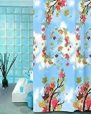 wohnideenshop Duschvorhang 180cm breit x 200cm lang Textil Cinar mit bunten Blättern