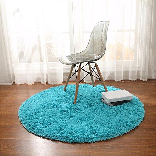 CAMAL Teppich, Runde Seide Wolle Material Yoga Teppich für Wohnzimmer Schlafzimmer und Bad (Blau, 140cm)