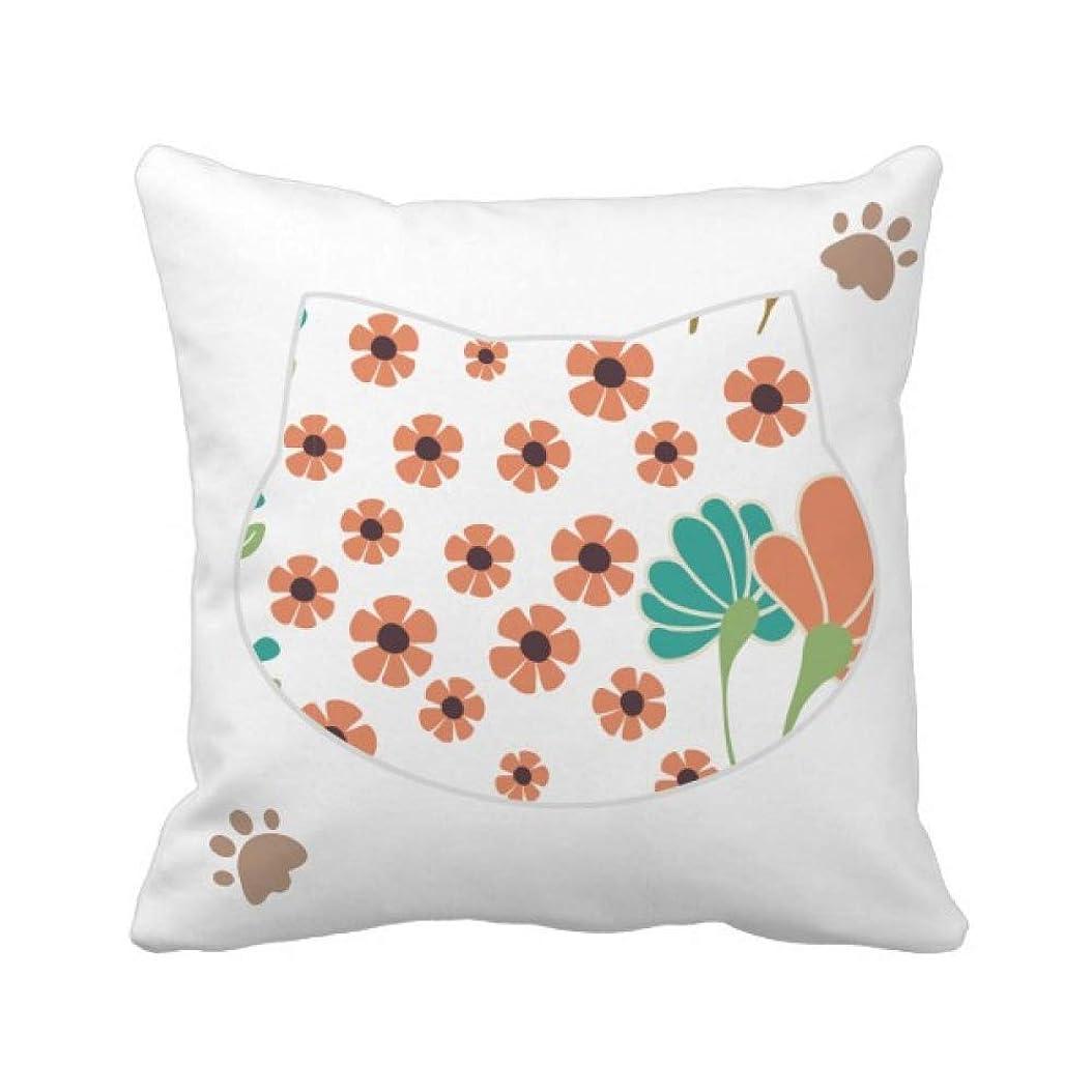 ベテラン固体迷彩greenorange花植物塗料 枕カバーを放り投げる猫広場 50cm x 50cm