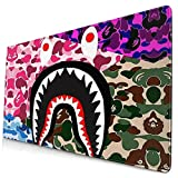 168SHOESFASHION Large Mousepad Nonslip Shark King Camo Gaming Mat Waterproof Smooth Cushion for Office Laptop 15.8x29.5 in