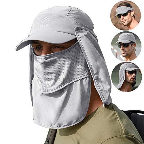 Lantch Sonnenhut Herren UV Schutz Baseball Caps Outdoor Visoren Sonnenschutz Hut Outdoor-Anglerhut Wasserdicht (Hellgrau)