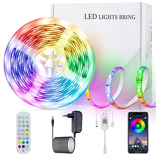 SUNGYIN LED Strip Streifen Farbwechsel Lichterkette 5M RGB mit Fernbedienung und Bluetooth Kontroller Sync zur Musik, Anwendung für Schlafzimmer, Party und Feriendekoration[Energieklasse A+]
