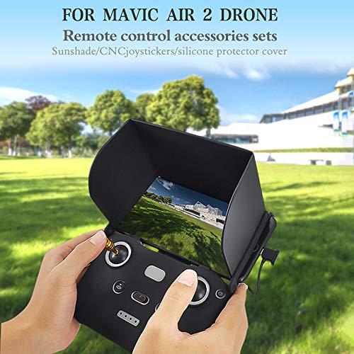 Cucudy para DJI Mavic Air 2 RC Drone Monitor Capô Sun Shade Controle remoto dobrável Protetor solar Joysticks de liga de alumínio Capa protetora de silicone para RC Quadcopter