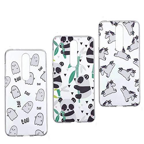 3X Custodia Per Nokia X5/Nokia 5.1 Plus Cover Silicone Trasparenti con Disegni (Panda + Unicorn + Animal) Originale Caso gel Gomma TPU Morbido Antiurto Protettiva Shell Cover Per Cover Per Nokia X5/Nokia 5.1 Plus