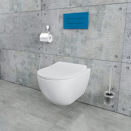 Design Wand-Hänge-WC Toilettenschüssel Tiefspüler inkl. WC Sitz aus Duroplast mit Metallscharnieren Absenkautomatik Spülrandlos Rimfree Nanobeschichtung Randlos KB-DE6ZPW - 2